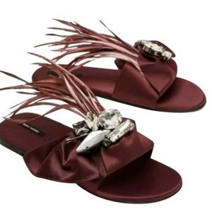 Stunning Glamorous Zara Ostrich Jewel Satin Slides